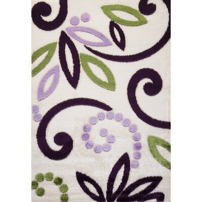 Contempo Spiral Green/Purple Area Rug Rug Size: Runner 3 x 8
