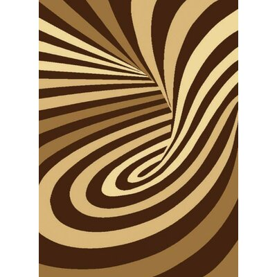 Starlite Psychedelic Machine Woven Polypropylene Brown Area Rug