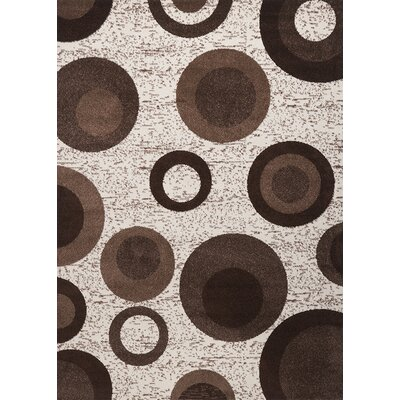 Estella Circle Brown Area Rug Rug Size: 8 x 11