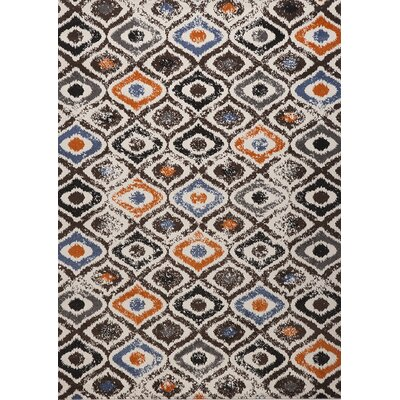 Estella Diamond Black/White Area Rug Rug Size: Rectangle 6 x 8