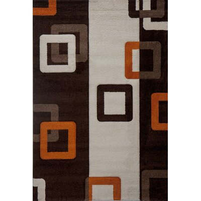 Milano Link Rust Brown/White Area Rug Rug Size: 6 x 8