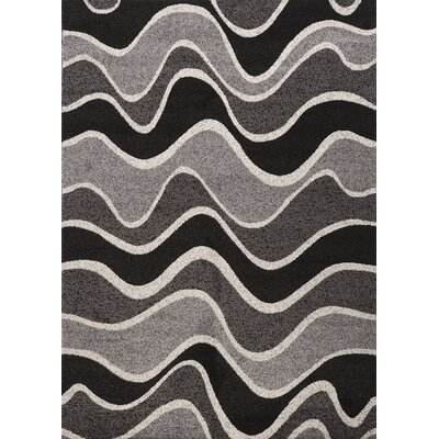 Estella Wavy Black/White Area Rug Rug Size: 6 x 8