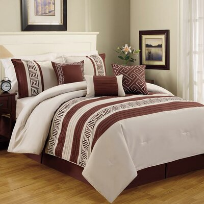 Greek Key 6 Piece Comforter Set Size: Queen