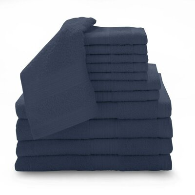 Super Plush Egyptian Quality Cotton 12 Piece Towel Set Color: Cobalt