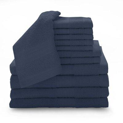 Super Plush Egyptian Quality Cotton 12 Piece Towel Set Color: Cobalt