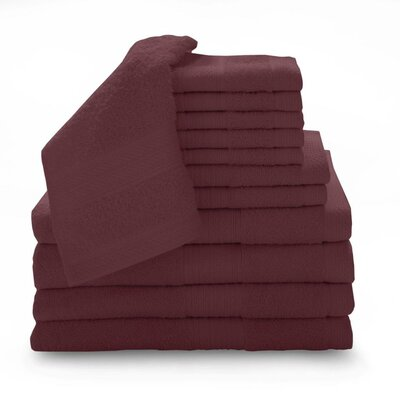 Super Plush Egyptian Quality Cotton 12 Piece Towel Set Color: Cranberry