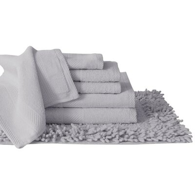 Super Plush Egyptian Quality Cotton 7 Piece Towel Set Color: Silver