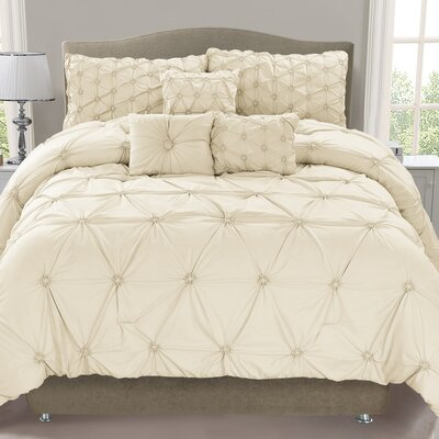 Cosmo 6 Piece Comforter Set Color: Ivory, Size: King
