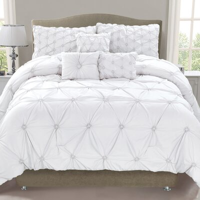 Cosmo 6 Piece Comforter Set Size: Queen, Color: White