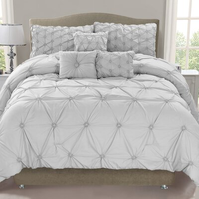 Cosmo 6 Piece Comforter Set Color: Mist, Size: King