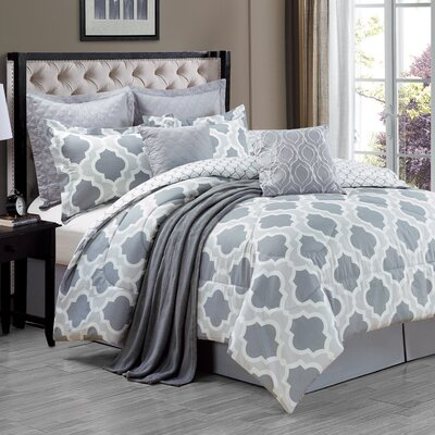 Dorchester 9 Piece Comforter Set Size: Queen, Color: Gray