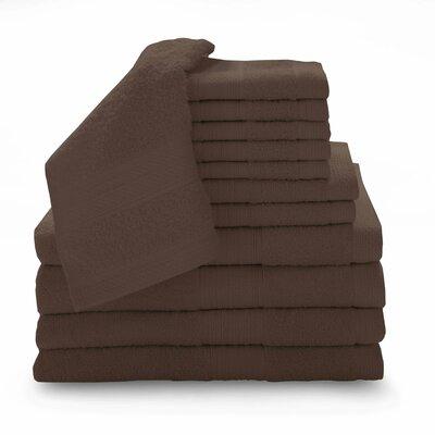 Super Plush Egyptian Quality Cotton 12 Piece Towel Set Color: Espresso