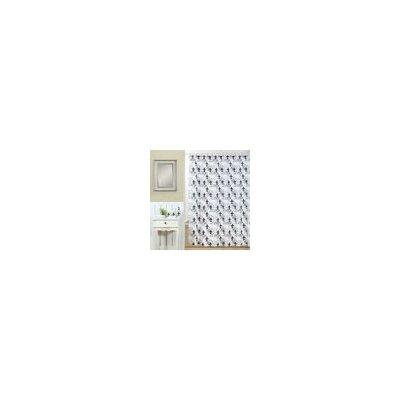 Fleur Di Lis Printed Shower Curtain Color: Black / White