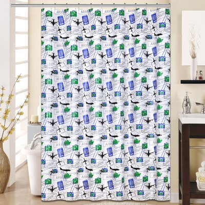 Flyer 13 Piece Printed Peva Shower Curtain Set