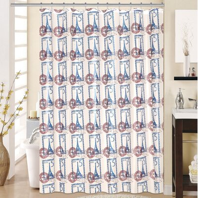 Paris 13 Piece Printed Peva Shower Curtain Set