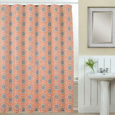 Suzani Polyester Shower Curtain Set Color: Coral