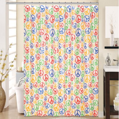 Peace 13 Piece Printed Peva Shower Curtain Set