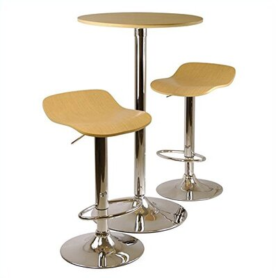 Kallie 3 Piece Pub Table Set Color: Natural