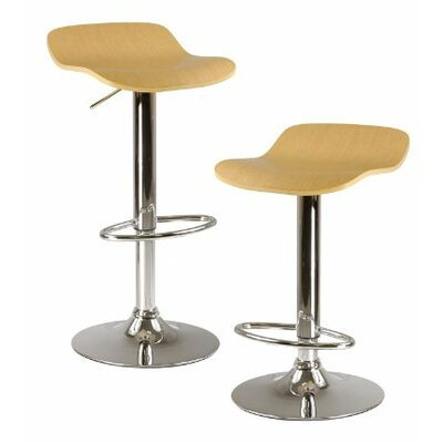 Kallie Adjustable Height Swivel Bar Stool Finish: Natural Wood