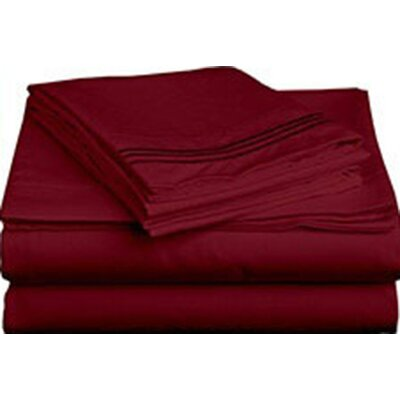 Triple Tack Microfiber Sheet Set Size: Twin, Color: Burgundy
