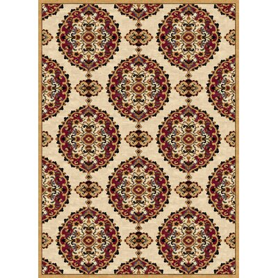 Ethnic Cream/Red Area Rug Rug Size: 8 x 11