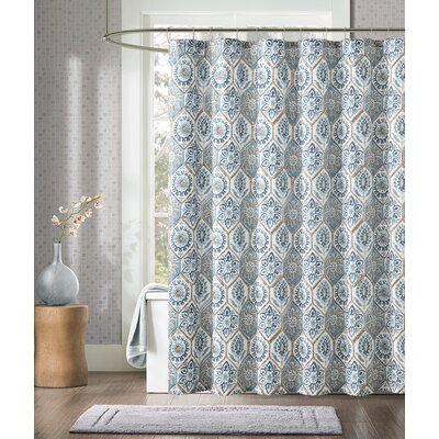 Athena Shower Curtain Color: Taupe/Blue