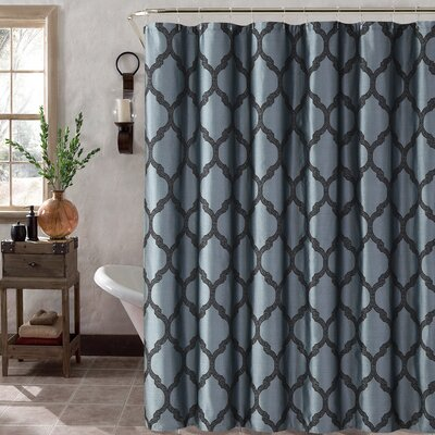 Foli Trellis Shower Curtain Set Color: Blue/Black