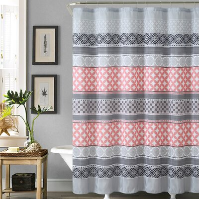 Coral and grey curtains