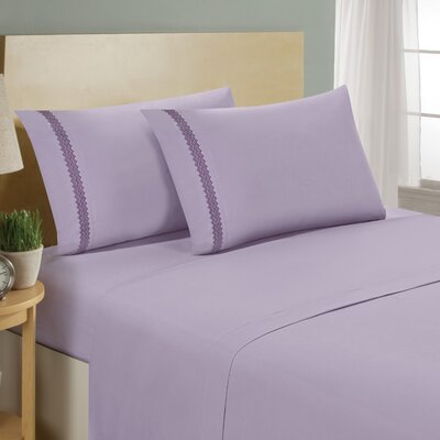Chevron Double Brushed Sheet Set Size: Full, Color: Lavender/Eggplant