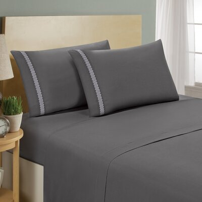 Chevron Double Brushed Sheet Set Size: Twin, Color: Gray/White