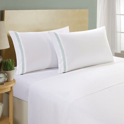 Hotel Chevron Double Brushed 4 Piece Sheet Set Color: White/Sea Breeze, Size: Twin