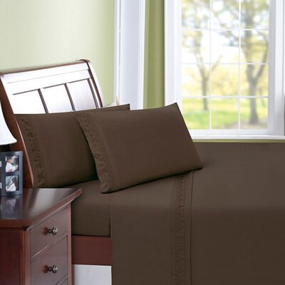 Scroll Microfiber Sheet Set Size: Full, Color: Chocolate