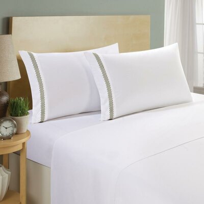 Hotel Chevron Double Brushed 4 Piece Sheet Set Color: White/Sage, Size: King