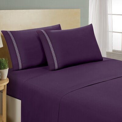 Chevron Double Brushed Sheet Set Size: King, Color: Eggplant/Lavender