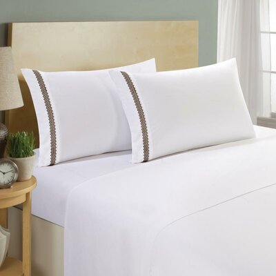 Hotel Chevron Double Brushed 4 Piece Sheet Set Color: White/Chocolate, Size: Twin