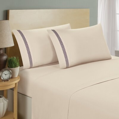 Chevron Double Brushed Sheet Set Size: Full, Color: Cream/Eggplant