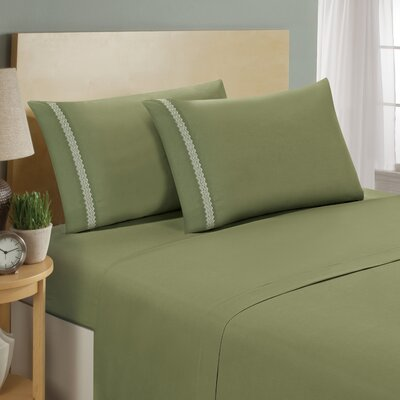 Chevron Double Brushed Sheet Set Size: Twin, Color: Sage/White