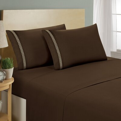 Chevron Double Brushed Sheet Set Size: King, Color: Chocolate/Cream