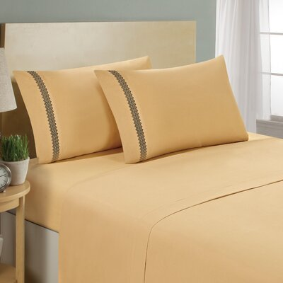 Chevron Double Brushed Sheet Set Size: California King, Color: Camel/Black
