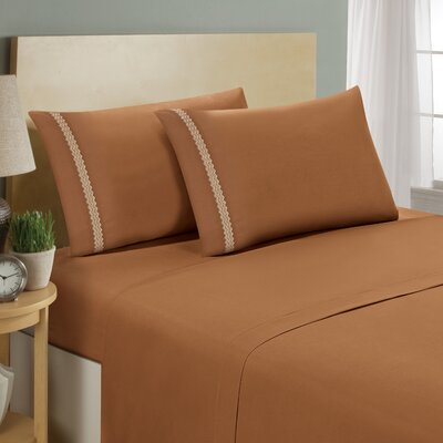 Chevron Double Brushed Sheet Set Size: California King, Color: Light Brown/Cream