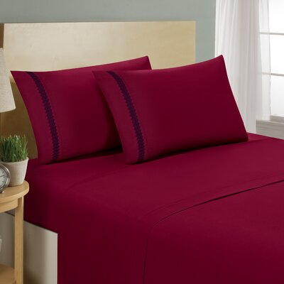 Chevron Double Brushed Sheet Set Size: King, Color: Burgundy/Navy