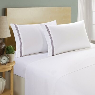 Hotel Chevron Double Brushed 4 Piece Sheet Set Color: White/Eggplant, Size: Twin
