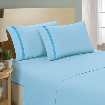 Chevron Double Brushed Sheet Set Size: California King, Color: Aqua