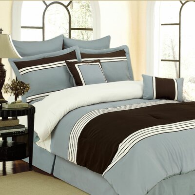 Willow 8 Piece Comforter Set Color: Blue, Size: King