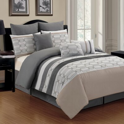Hexagonal 9 Piece Comforter Set Size: Queen