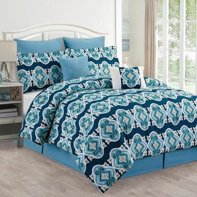 Amber Diamond 8 Piece Comforter Set Size: Queen