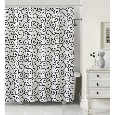 Maya Shower Curtain Set Color: Ivory/Black