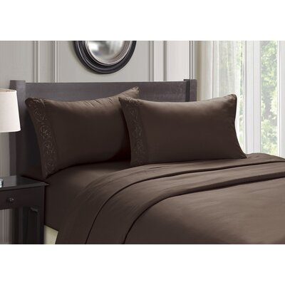 Embroidered 4 Piece Sheet Set Color: Chocolate, Size: Queen