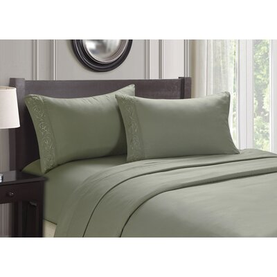 Embroidered 4 Piece Sheet Set Size: Full, Color: Sage