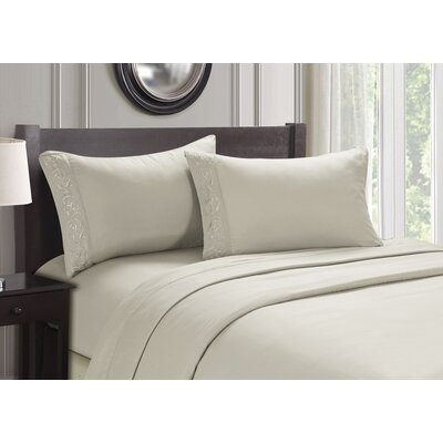 Embroidered 4 Piece Sheet Set Size: Queen, Color: Beige